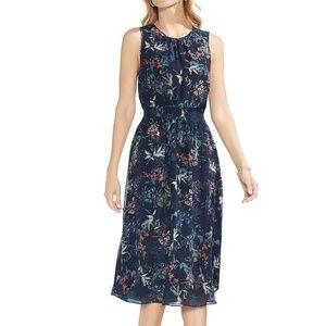 NWT Vince Camuto Navy Floral Chiffon Midi Dress